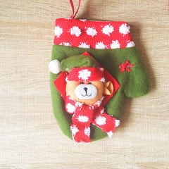 Christmas Cute Decoration Christmas bear gloves decoration ornament felt knitting holiday xmas