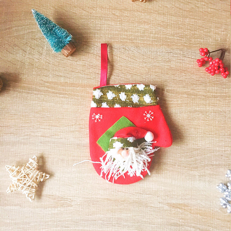 Christmas Cute Decoration Christmas santa gloves decoration ornament felt knitting holiday xmas
