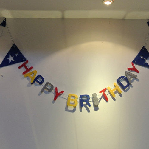 Felt Birthday Flag Captain America Banner Kids Baby Birthday Party