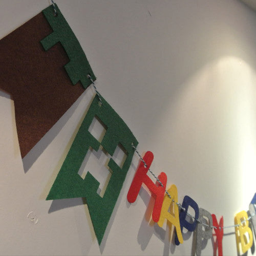Felt birthday flag Minecraft banner kids Baby Birthday Party kid room decor Garland