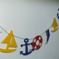 Felt birthday flag sea theme banner kids Baby Shower Bridal Shower Birthday Party kid room decor Garland