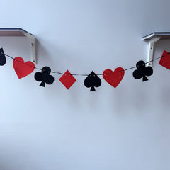 Felt birthday flag spades hearts clubs diamonds banner bar poker room casino decor party Garland
