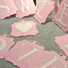 Felt birthday flag wedding banner decor Party Bridal Shower room decor Garland love sweet