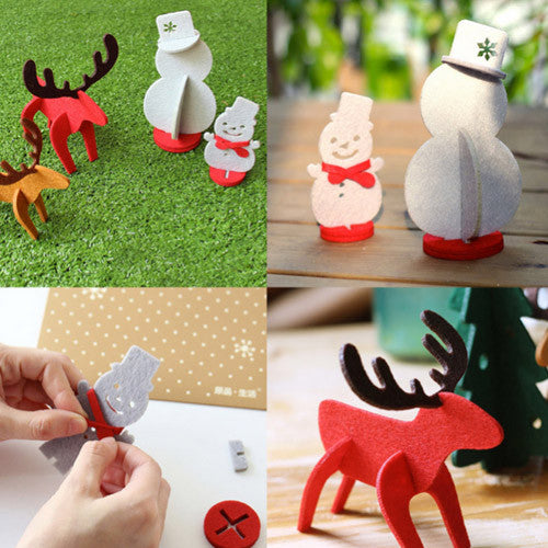 felt christmas decor felt 3d felt decorations diy snowman reindeer cute gift felt board