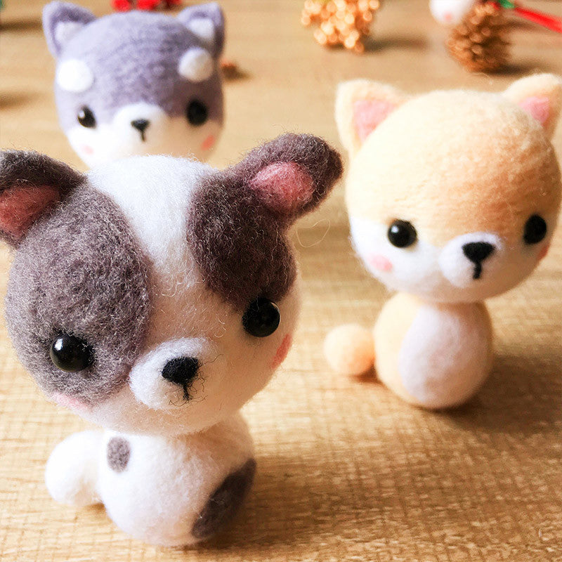 Handmade Needle felted dog felting kit project Animals puppy cute for beginners starters