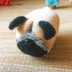 Handmade Needle felted dog felting kit project Animals Pug cute for beginners starters