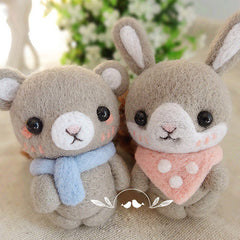 Needle Felted Felting project Animals Cute Gray Bear Bunny Couples Cute Doll