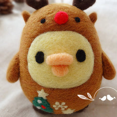 Needle Felted Felting Cute Animals Chicken Christmas reindeer Cute Craft