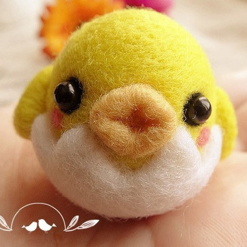 Needle Felted Felting Animals Yellow Chicken Cute Craft Handmade doll