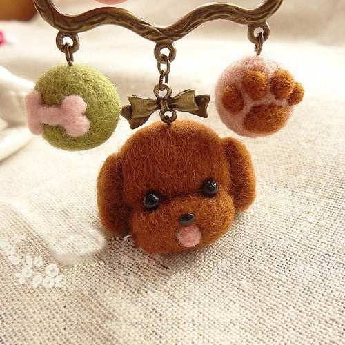 Needle Felted Felting project Animal Dog Poodle Cute Brooch Accessories