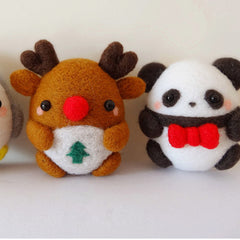Needle Felted Felting project Animals Christmas penguin Reindeer Panda Cute Handmade