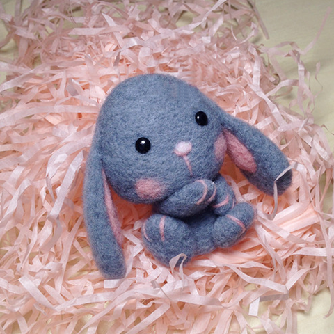 Handmade Needle felted felting animal project cute Gray bunny felted wool doll