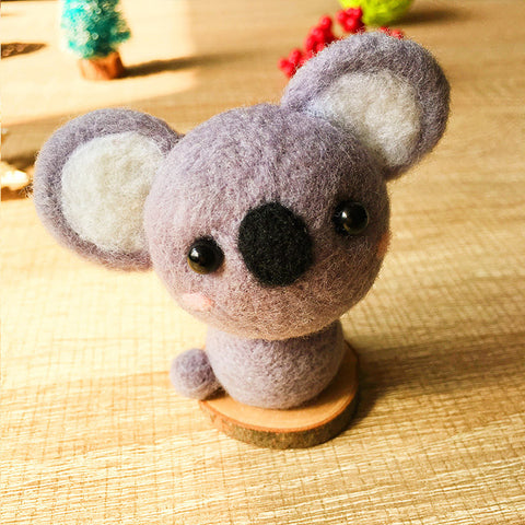 Handmade Needle felted felting kit project Animals Koala cute for beginners starters