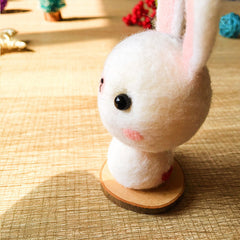 Handmade Needle felted felting kit project Animals bunny rabbit cute for beginners starters