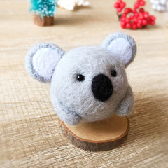 Handmade Needle felted felting kit project Woodland Animals koala cute for beginners starters