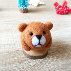 Handmade Needle felted felting kit project Woodland Animals bear cute for beginners starters