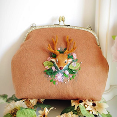 Handmade felted cute embroidery deer purse vintage shoulder corssbody bag