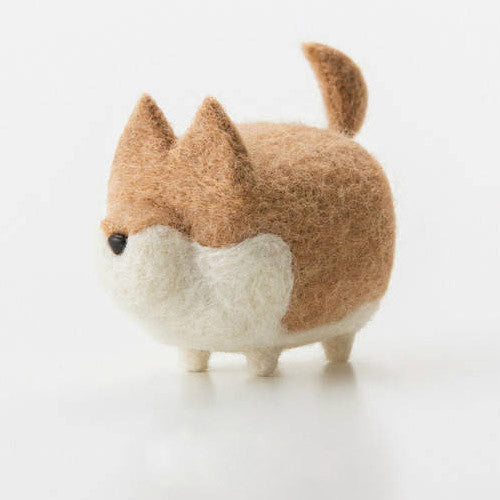 Handmade felted felting project cute animal Akita dogs puppy felted wool doll