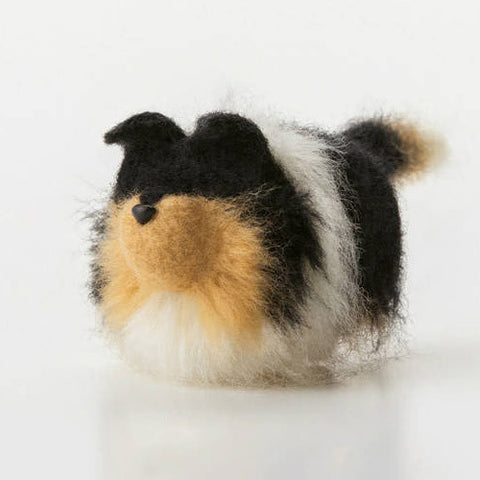 Handmade felted felting project cute animal Australian Shepher dogs puppy felted wool doll