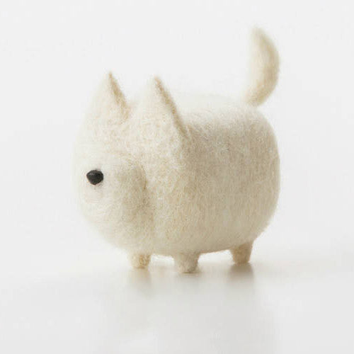 Handmade felted felting project cute animal Great Pyrenees dogs puppy felted wool doll