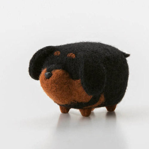 Handmade felted felting project cute animal Rottweiler dogs puppy felted wool doll
