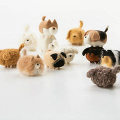 Handmade felted felting project cute animal Pomeranian dogs puppy felted wool doll