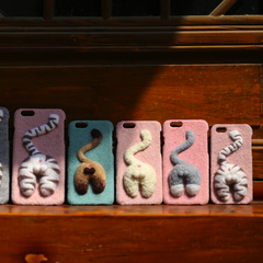 Handmade needle felted cute animal project cat kitten's butt iphone case