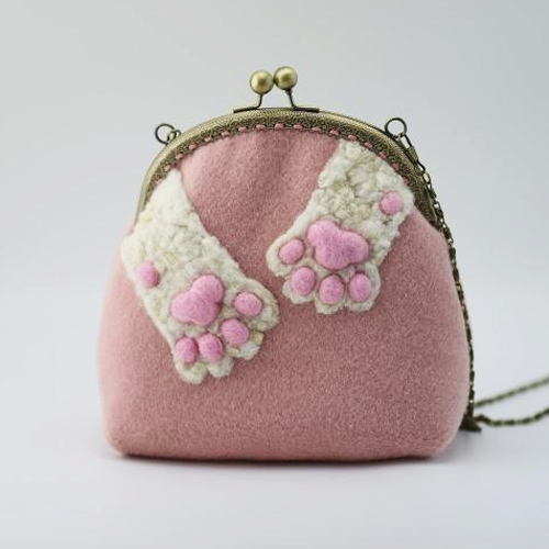 Handmade needle felted cute cat's claw tail project purse vintage shoulder corssbody bag