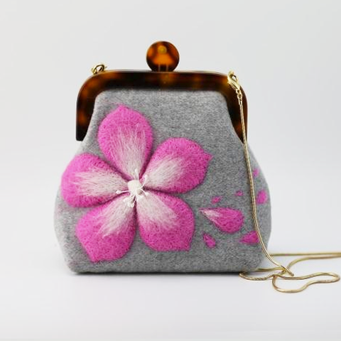 Handmade needle felted cute sakura project purse vintage shoulder corssbody bag
