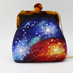 Handmade needle felted cute galaxy project purse vintage shoulder corssbody bag