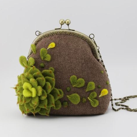 Handmade needle felted cute Succulents project purse vintage shoulder corssbody bag