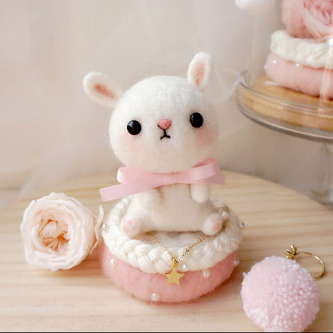 Handmade needle felted felting cute animal project bunny wedding gift box