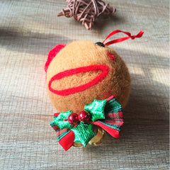 Handmade needle felting felted project christmas Gingerbread bauble ball tree ornamant christmas decor decoration