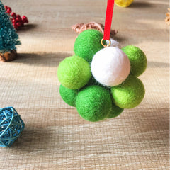 Handmade needle felting felted project christmas bauble green ball tree ornamant christmas decor decoration