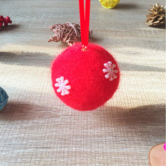 Handmade needle felting felted project christmas bauble red ball snow tree ornamant christmas decor decoration