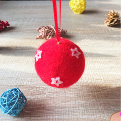 Handmade needle felting felted project christmas bauble red ball star tree ornamant christmas decor decoration