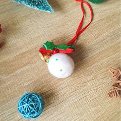 Handmade needle felting felted project christmas bauble White ball tree ornamant christmas decor decoration