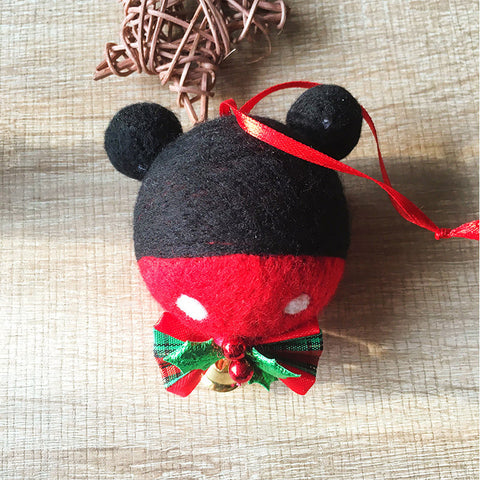 Handmade needle felting felted project christmas micky bauble ball tree ornamant christmas decor decoration