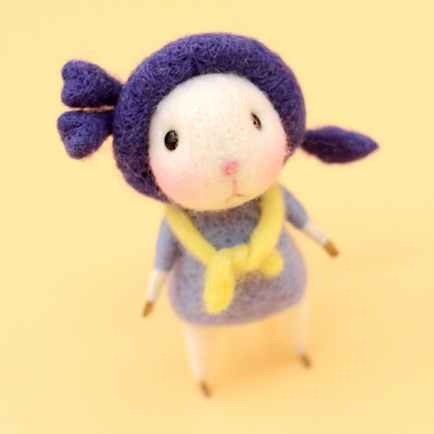 Handmade Needle felted felting project animal constellation cute mouse mice scorpio felted wool doll