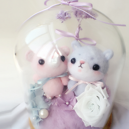 Handmade needle felted felting cute animal project bear bunny toy gift box