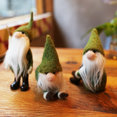 Handmade Needle felted felting project cute Christmas green gnome garden felted wool doll
