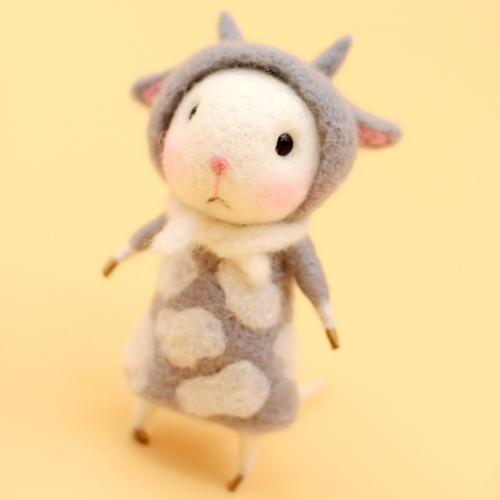 Handmade Needle felted felting project animal constellation cute mouse mice Taurus felted wool doll