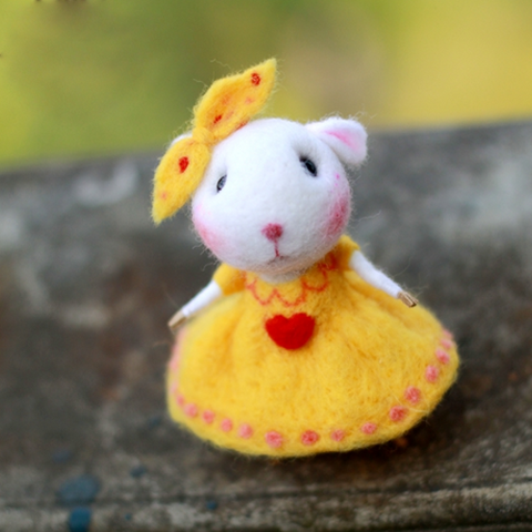 Handmade Needle felted felting project animal cute mouse mice Yellow Dress felted wool doll