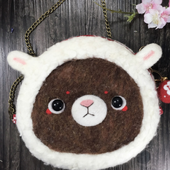 Handmade needle felted felting cute animal project bear bunny shoulder bag purse