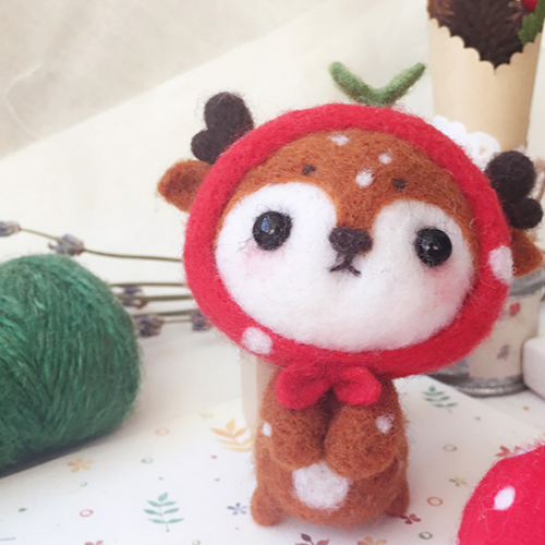 Handmade needle felted felting cute animal project deer felted toy doll