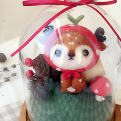 Handmade needle felted felting cute animal project deer gift box