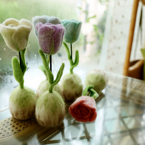Handmade wet felted felting project cute flower rose potted felted home decor