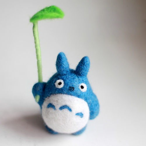 Handmade Needle felted felting project animal cute Blue Totoro felted wool doll