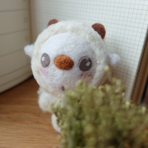 Handmade Needle felted felting project animal cute Christmas snowman sheep felted wool doll