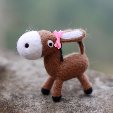 Handmade Needle felted felting animal project cute donkey felted wool doll